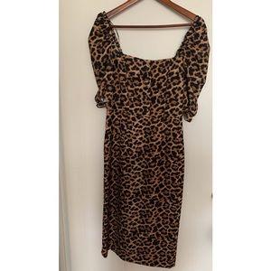 ZARA Leopard Print Puff Sleeve Midi Dress